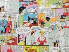 Patchwork Deko Stoff Retro Comics Fifties 50er Jahre Design USA Frauen Nähen | eBay