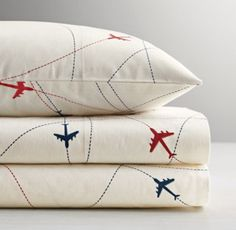 RH baby&child's Airplane Sheet Set :Blue and red airplanes trace a series of marked routes across our soft cotton percale sheet set as weary travelers wing their way to sleep.