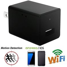 """Wifi Spy Camera Charger Adapter,ESROVER HD 1080P USB Wall Charger Adapter Wifi P2P Hidden Spy Cam for IOS iPhone Android Phone APP Remote View  UNIQUE DESIGN-It looks like a ordinary USB Charger Adapter,actually it is a wifi spy hidden charger camera.MULTIFUNCTION: With this wifi camera,you can used it as a nanny cam,housekeeper cam,security camera. Remote real-time video streaming via smartphone;Supports 4 Cameras in the Same TimeEASY TO SET UP:You can download the APP from """"Googl.."""