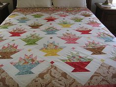 Interesting Flower Basket Quilt Pattern Flower Basket Quilt Pattern - This Interesting Flower Basket Quilt Pattern images was upload on December, 16 2019 by admin. Here latest Flower Basket . Quilting Projects, Quilting Designs, Quilting Ideas, Quilt Block Patterns, Quilt Blocks, Red And White Quilts, Basket Quilt, Colorful Quilts, Crochet Quilt