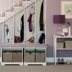 Under Stairs Closet Storage Ideas Small Spaces Ideas For 2019 Storage Solutions Closet, Small Spaces, Small Closet Storage, Closet Storage Design, Stair Shelves, Coat Closet Storage, Entryway, Closet Under Stairs, Mud Room Storage