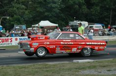 The 'Daddy Warbucks' Ford Falcon dangles the front tires as it leaps out of the starting gate! Ford Falcon, Cool Car Pictures, Nhra Drag Racing, Custom Muscle Cars, Old School Cars, Ford Classic Cars, Ford Fairlane, Vintage Race Car, Car Ford