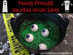 Family friendly haunted house ideas #Halloween #HauntedHouse---white paper/sheet on walls with glow in dark secret messages