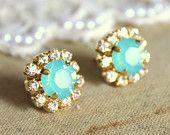 Crystal stud earring - 14k plated gold post earrings real swarovski rhinestones .. $28.00, via Etsy.