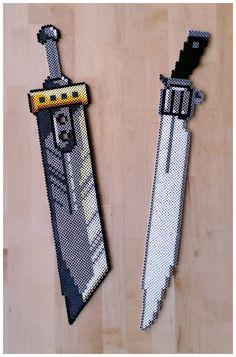 Final Fantasy Blades (Buster sword FF7 and Gunblade FF8) perler beads by Oggey-Boggey-Man