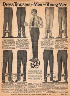 1922 Spring/Summer Catalog, National Cloak & Suit Co., page 327 1940s Mens Fashion, Best Mens Fashion, Mens Fashion Suits, Mens Suits, Vintage Fashion, Vintage Pants, Vintage Men, Vintage Outfits, Vintage Clothing