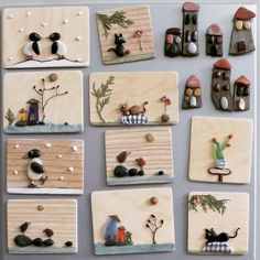 Handmade magnets from DADA, again with materials collected from nature. - Hobbies and crafts - Sea Crafts, Nature Crafts, Diy And Crafts, Arts And Crafts, Pebble Painting, Pebble Art, Stone Painting, Stone Crafts, Rock Crafts