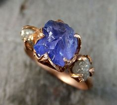 Raw Diamond Tanzanite Gemstone 14k Rose Gold Engagement Ring Wedding Ring One Of a Kind Gemstone Ring Bespoke Three stone Ring by Angeline