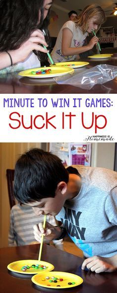 Christmas DIY: These 10 Minute to W These 10 Minute to Win It games were perfect for all ages  challenging enough for older children but easy enough for everyone to join in the fun! Hysterical silly fun for everyone! #christmasdiy #christmas #diy