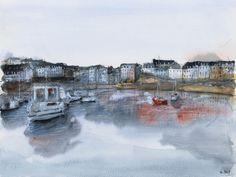 Rosmeur port - France. Watercolor painting / Aquarelle. By Nicolas Jolly.