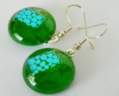 Fused Glass and Dichroic Circles with Spots by uniquenique on Etsy, $22.00 #onfireteam #lacwe #fest #tbec #earrings #fusedglass #accessories #jewelry