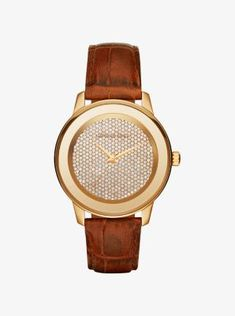Kinley Pavé Gold-Tone and Leather Watch. Cool WatchesStylish WatchesMichael  Kors ... d8bf4a6282