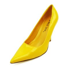 Yellow Pat. PU COSMO-06 Pointy Toe Pumps  Price: $27.95