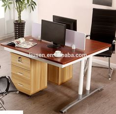 Factory Wholesale Price 2 Employee Office Cubicle Workstations Wooden Office  Staff Partition Desk With Side Table