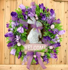 Easter Wreath With Rabbit, Bunny Wreath, Grapevine Easter Wreath, Easter Door Decor by RhondaCarrierDesigns on Etsy Purple Wreath, Tulip Wreath, Easter Wreaths, Holiday Wreaths, Spring Wreaths, Diy Wreath, Grapevine Wreath, Wreath Ideas, Wreath Hanger