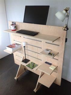 20 Most Popular DIY Computer Desk Plans - Gripelements Wall Mounted Computer Desk, Diy Computer Desk, Diy Desk, Funky Furniture, Plywood Furniture, Home Office Furniture, Furniture Design, Diy Standing Desk, Home Design Software