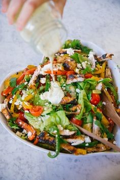 #Chicken #Fajita #Salad with a zingy creamy dressing