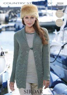 Sirdar Long Sleeve Cardigan 4 Ply Crochet Pattern 9504