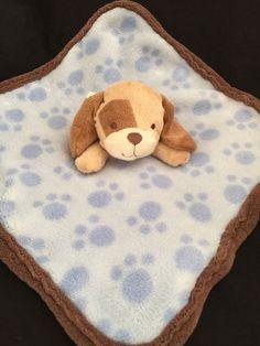 Koala Baby Brown Tan Puppy Dog Lovey Blue Paw Print Security Blanket Plush Toy  | eBay