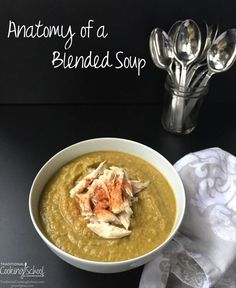 The sky's the limit when it comes to deciding what to put in your blended soups. Use up any stray produce: an extra potato that didn't get baked, bits of broccoli or red pepper from a party tray, zucchini that's gone soft, wilty herbs that might be thrown out anyway... Anything is fair game. And delicious!   TraditionalCookingSchool.com Best Healthy Soup Recipe, Healthy Cooking, Cooking Tips, Cooking Recipes, Anatomy, Upset Tummy, Beautiful Soup, Nourishing Traditions, Veggie Tray