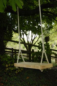 Child swing - loved the engraved nursery rhyme idea...