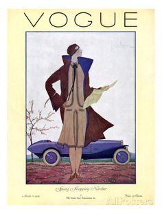 Vogue Cover - March 1926 Premium giclée print van Georges Lepape bij AllPosters.nl