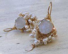 Wedding Jewelry, Gold Filled Moonstone Earrings, Pearl Wedding Jewelry, Bridal Earrings, Moonstone Jewelry, Statement Earrings