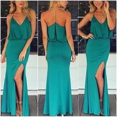 New Fashion Evening Gown,Green Prom Dresses,Chiffon Evening Gowns,Modest Formal Dresses,Slit Evening Gowns