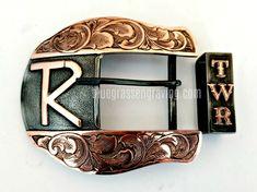 Men's Ranger Belt Buckle Set, 2 Piece Buckle and Keeper Set, Customize to your style Hand Engraving, Cattle, Belt Buckles, Ranger, Overlays, Westerns, Initials, Copper, Bronze