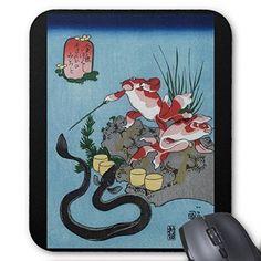 歌川国芳『 そさのおのみこと - うなぎ 』のマウスパッド:フォトパッド( 浮世絵シリーズ ) 熱帯スタジオ…