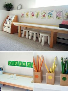 Montessori Playroom for Three - such a lovely light bright space (via Handmade Charlotte) Kids Crafts, Space Crafts, Kids Diy, Craft Space, Craft Kids, Playroom Montessori, Montessori Toddler, Kids Art Corner, Craft Corner