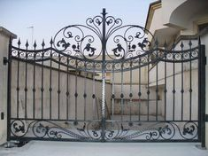 Add to your homes a touch of creativity & beauty! Gate Wall Design, Steel Gate Design, Iron Gate Design, House Gate Design, Balcony Design, Fence Design, Metal Gates, Wrought Iron Doors, Gate For Home
