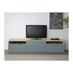 BESTÅ TV-Bank - Eicheneff wlas/Valviken grautürkis, Schubladenschiene, Drucksystem - IKEA