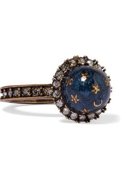 Gold-plated, Swarovski crystal and enamel ring