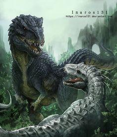 dinosaur art Vastatosaurus VS Indominus by Dinosaur Drawing, Dinosaur Art, Fantasy Creatures, Mythical Creatures, Dinosaur Images, Tyrannosaurus, Indominus Rex, Fantasy Beasts, Spinosaurus