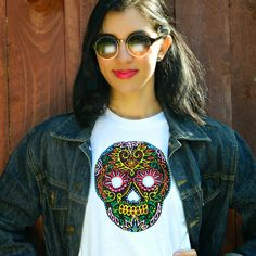How to make a Sugar Skull Tee ~ALLURE Dimensional Adhesive Paint