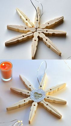 Making Christmas decorations: the Christmas star - # . - Making Christmas decorations: the Christmas star – # Make stars for Christ - Christmas Star, Christmas Crafts, Christmas Ornaments, Diy Crafts To Do, Christmas Decorations To Make, Poinsettia, Diy Design, Diy Projects, Clothespins