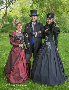 Steampunk outfits that have fun dimensionality and I really like the skeleton accent on the black corset