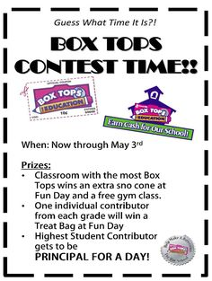 BOX TOPS FOR EDUCATION CONTEST                              …                                                                                                                                                     More