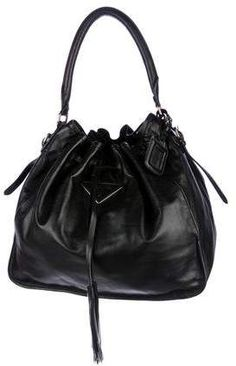 209468d2a Prada Nappa Soft Drawstring Hobo Pink Leather, Soft Leather, Leather  Interior, Bucket Bag
