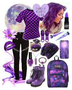 """""""Purple Snurple"""" by xxx-marshmallow-of-death-xxx ❤ liked on Polyvore featuring Givenchy, Hot Topic, JanSport, purple, emo, scene and alternative"""