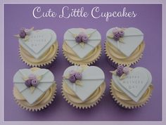Mother's Day themed cupcakes in pale turquoise, purple & lilac x