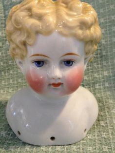 Antique German Circa 1870 Blonde Deeply Molded Curls China Shoulder Head Doll | eBay