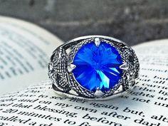 Snake Ring Gothic Ring Sapphire Swarovski Ring by ApplebiteJewelry Gothic Rings, Gothic Jewelry, Swarovski Ring, Swarovski Crystals, Index Finger Rings, Snake Jewelry, Snake Ring, Blue Pearl, Adjustable Ring