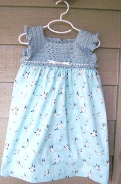 Girls' Bird Crochet Dress - Size 3T. $34.00, via Etsy.