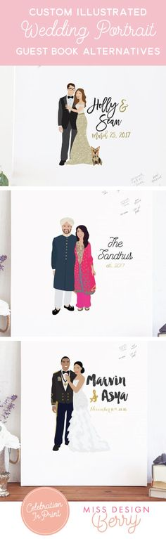 The most AMAZING guest book alternatives that have a custom portrait illustration on canvas - it will be the TALK of your wedding - and then becomes an awesome piece of art to hang in your home after the wedding. From Miss Design Berry