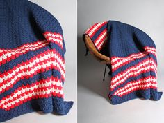 Vintage Red White and Blue Afghan Blanket  by GirlLeastLikely