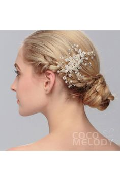 Dreamy Silver Cloud Alloy Wedding Headpiece with Crystal and Imitation Pearl #HS-J2590A #cocomelody #headpiece