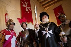 The Inguardia Knights of St. John Re-enactment group with the Queen's Baton, in Birgu, in Valletta, Malta, Wednesday 7 May 2014. Malta is na...