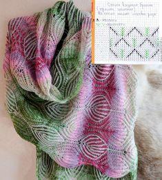 Простенькая схемка вязания бриошь. Чтобы удлинить листочки между рядами с убавками-прибавками можно провязать ряды без них (по рисунку).